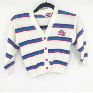 Vintage Girls Popsicle Striped Button Up Sweater 5